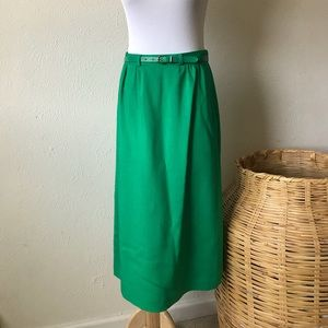 Vintage Green Midi Skirt with Belt